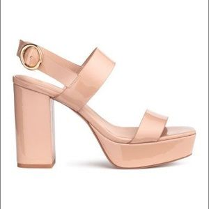 H&M Nude Chunky Heel Patent Leather Platforms